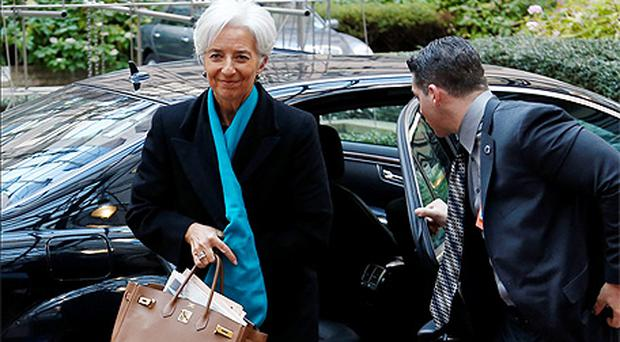 IMF Managing Director Christine Lagarde arrives at a euro zone finance ministers meeting in Brussels