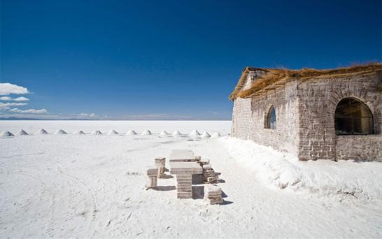 <b>Salt</b> <br/> A handful of hotels near the backpacker town of Uyuni, in Bolivia, have been built using block sof salt mined from the surrounding salt flats.