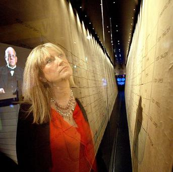 Deputy chief executive of Titanic Belfast Judith Owens looks at the historic Titanic Inquiry Plan
