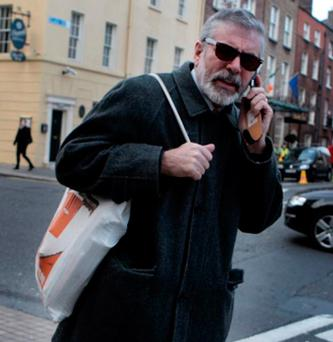 Gerry Adams, pictured in Dublin following an eye operation.