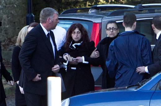 Lara's mother Helene is in black coat with white piping. Photo: Kyran O'Brien