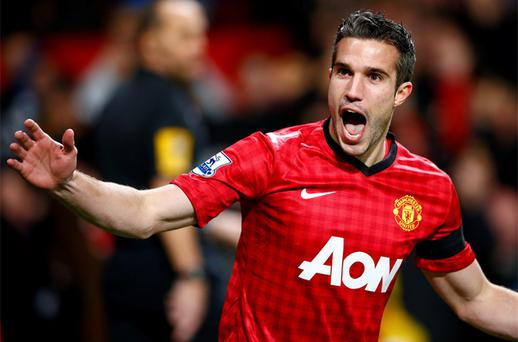 Manchester United's van Persie celebrates his goal against West Ham. Photo: Reuters