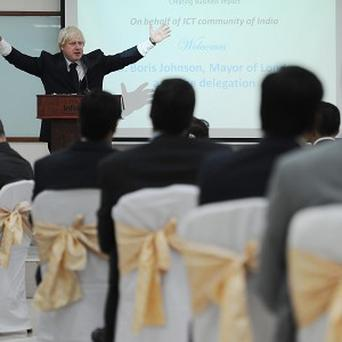 Mayor of London Boris Johnson speaks to business leaders at Infotech in Hyderabad, India