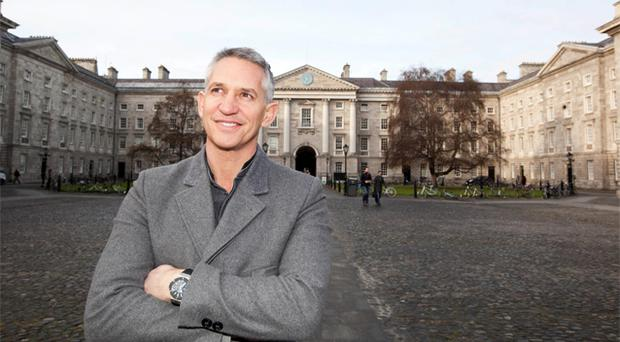 Gary Lineker in Trinity College yesterday