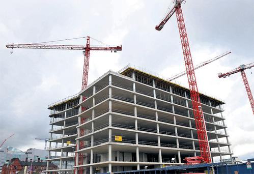 The unfinished headquarters of the former Anglo Irish Bank at the North Wall Quay site which has been sold to the Central Bank