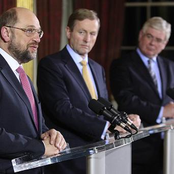 President of the European Parliament Martin Schulz, Taoiseach Enda Kenny and Tanaiste Eamon Gilmore hold a press conference in Dublin