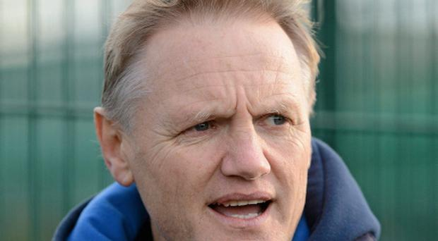 26 November 2012; Leinster head coach Joe Schmidt speaks the the media before squad training ahead of their side's Celtic League 2012/13, Round 10, game against Zebre on Saturday. Leinster Rugby Squad Training, UCD, Belfield, Dublin. Picture credit: Stephen McCarthy / SPORTSFILE