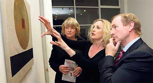 From left, Pat Moylan and Orlaith McBride of the Arts Council and Enda Kenny view Patrick Scott's 'Meditation'