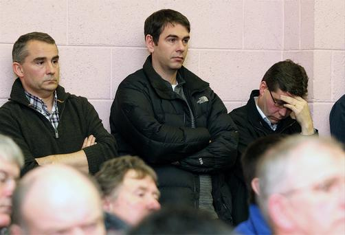 Sean Quinn Jnr (centre) at the meeting with former Quinn bosses Kevin Lunney and Liam McCaffrey