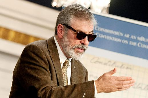 Sinn Fein leader Gerry Adams speaking at the inaugural Constitutional Convention at Dublin Castle