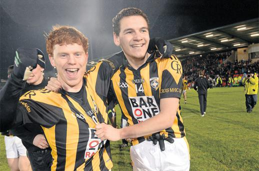 Kyle Carragher, left, and Aaron Cunningham of Crossmaglen Rangers celebrate after winning the Ulster SFC club final against Kilcoo