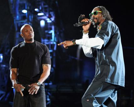 Rappers Dr. Dre (L) and Snoop Dogg perform onstage at Coachella 2012. Photo: Getty Images