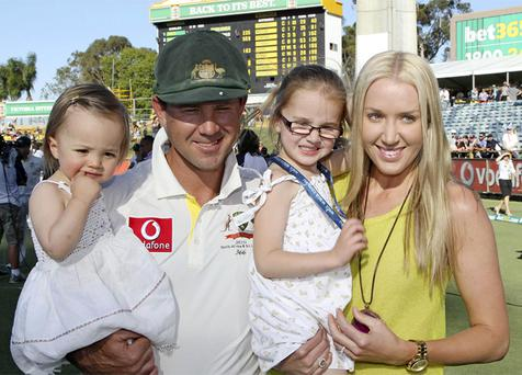 Australia's Ricky Ponting with his wife Rianna and daughters Emmy, second right, and Matisse pose for a photo after South Africa's win in the third cricket test match in Perth, Australia. Photo: AP