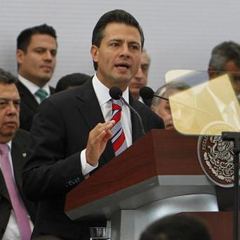 Mexico's President Enrique Pena Nieto delivers a speech during a signing agreement ceremony in Mexico City (AP)