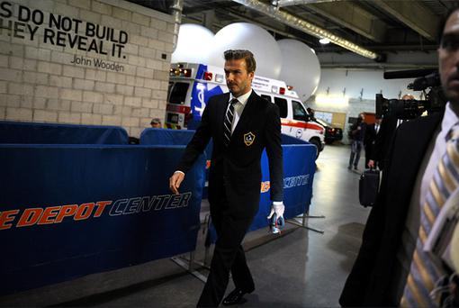 David Beckham arrives at the Home Depot Center ahead of his last game for LA Galaxy