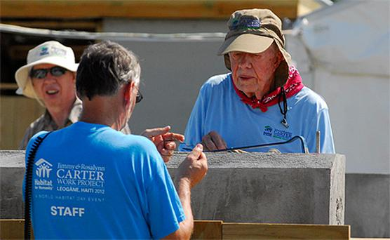 President Jimmy Carter working on site in Haiti