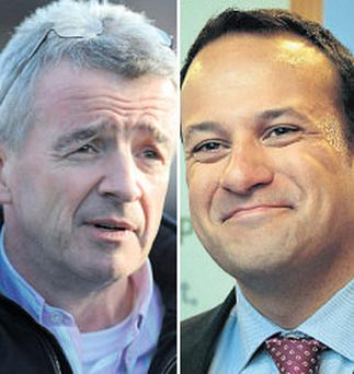 Clash: Leo Varadkar (left) and Michael O'Leary