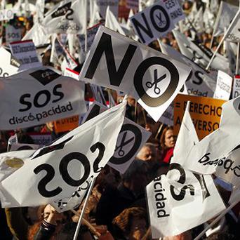 There have been protests against government austerity measures in Spain as the number of unemployed people nears 5m (AP)