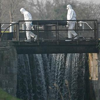 The body of Darren Guerrine is removed from the Bluebell area of the Grand Canal in Dublin city, in February 2008