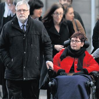 Terminally ill Marie Fleming with her partner, Tom Curran, as she takes her case to the courts