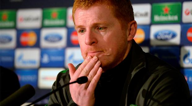 Celtic's manager Neil Lennon speaks to press at Celtic Park on Tuesday. Photo: Reuters