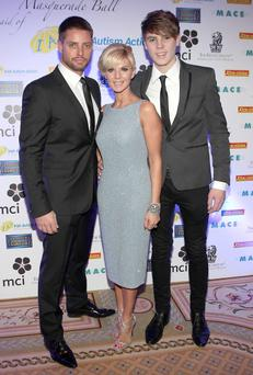 Keith Duffy,Lisa Duffy and Jordan Duffy pictured at Keith Duffy's Annual Masquerade Ball in aid of Irish Autism Action and Saplings School held at The Ritz Carlton Hotel in Enniskerry,WicklowPIX BRIAN MCEVOYno repro fee for one use Keith Duffy's 6th Masquerade Ball Raises over 100,000 For Irish Autism Action and Saplings School Rathfarnham Sunday, December 2nd 2012: Keith Duffy's 6th Masquerade Ball which took place in The Ritz-Carlton Hotel, Powerscourt last night was an amazing success with over 100,000 raised for Irish Autism Action and Saplings School Rathfarnham. The event, which was MC'd by Grainne Seoige was buzzing with over 400 people attending including well known faces such as Keith Duffy his wife Lisa and son Jay, Rosanna Davison, Glenda Gilson, Matt Cooper, Caroline Downey, Norah Casey, Morah Ryan Margaret Nelson and Mae Frisby.Guests enjoyed the magic of Christmas at the beautifully decorated Ritz Carlton Hotel. Entertainment included Jack L, who had just completed his sold out tour and who performed his brand new show
