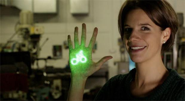 Emily Brooke who has has devised a potentially life-saving bike light which beams a laser image of a bicycle on to the road ahead to alert motorists of their presence.