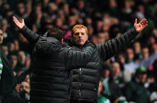 Celtic manager Neil Lennon celebrates at the final whistle