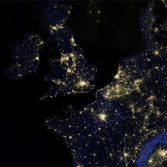 A composite assembled from data acquired by the Suomi NPP satellite shows Great Britain, Ireland, and part of northwestern Europe, including France, Belgium and the Netherlands, as they appeared on the night of March 27. Photo: AP