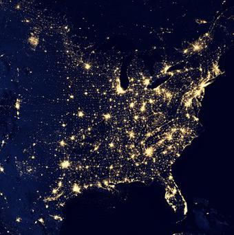 A Nasa image shows the United States at night (AP/Nasa)