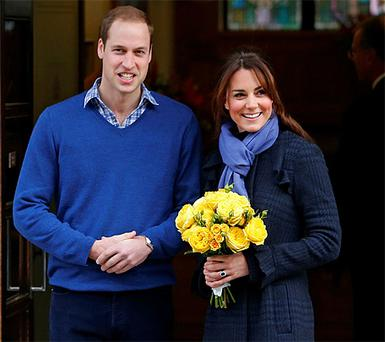 Prince William leaves the King Edward VII hospital with his wife Kate Middleton
