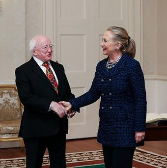 President Michael D Higgins with United States Secretary of State Hillary Clinton at Aras An Uachtarain, Dublin