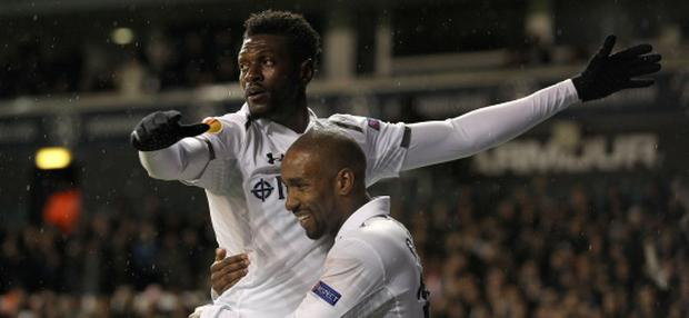 Tottenham Hotspur's Emmanuel Adebayor celebrates scoring their first goal of the game with team-mate Jermain Defoe (right) during the UEFA Europa League match at White Hart Lane. PRESS ASSOCIATION Photo. Picture date: Thursday December 6, 2012. See PA story SOCCER Tottenham. Photo credit should read: Nick Potts/PA Wire.