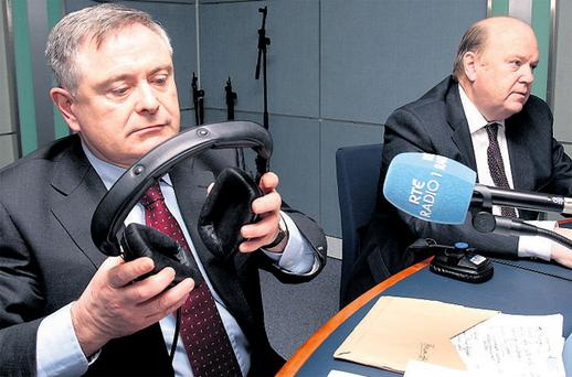 Brendan Howlin (left) and Michael Noonan appear on the Pat Kenny radio show at RTE studios in Dublin yesterday. Photo: Tom Burke
