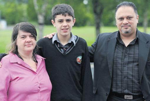 Dion Marcus with his parents Ann and Refaat Marcus in Killarney, Co Kerry