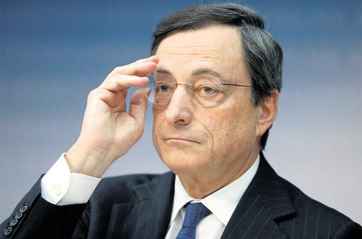European Central Bank president Mario Draghi gestures during a news conference in Frankfurt yesterday where he again poured cold water on Irish hopes for some relief on the promissory notes for Anglo Irish Bank. Photo: Reuters