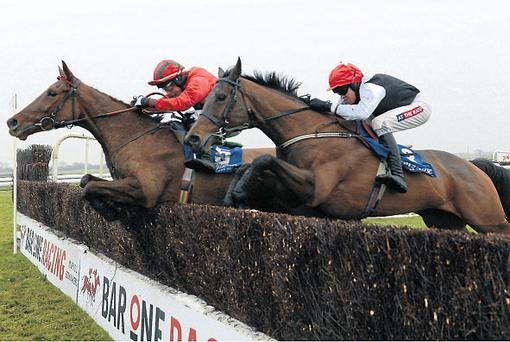 Avondhu Lady, with Mark Enright up (left), jumps the last on the way to getting the better of Our Girl Salley (Barry Geraghty) at Fairyhouse