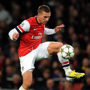 Lukas Podolski is the latest in a worrying list of injured players for 10th-placed Arsenal