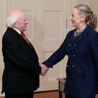 President Michael D Higgins with US Secretary of State Hillary Clinton at Aras An Uachtarain in Dublin