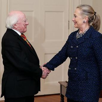 Irish president Michael D Higgins with US Secretary of State Hillary Clinton in Dublin