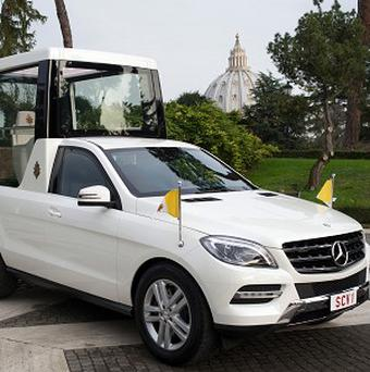 The new popemobile parked at the Vatican (AP/L'Osservatore Romano)