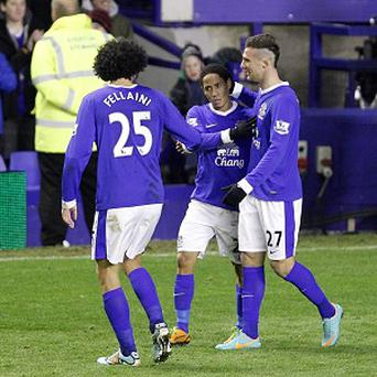 Steven Pienaar, centre, headed home the equaliser before Everton took all three points against Tottenham