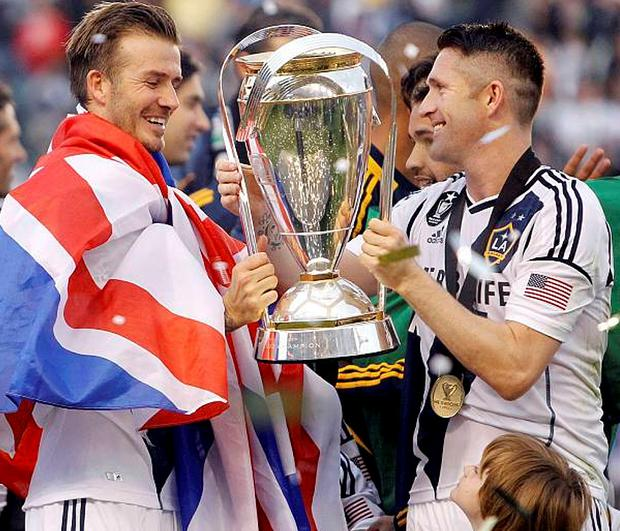 Robbie Keane with David Beckham after LA Galaxy won the MLS Cup championship in California last Sunday.