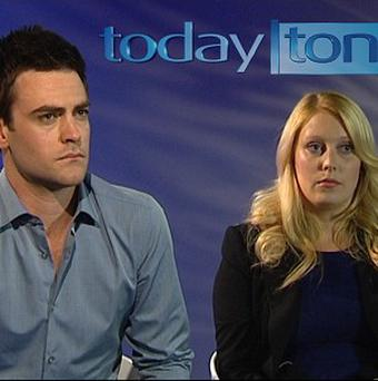 Radio DJ's Michael Christian and Mel Greig during an interview on Australia's Channel Seven (Today Tonight/PA)
