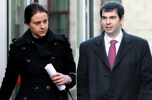 Aoife Quinn and Sean Quinn Jnr – children of the bankrupt billionaire Sean Quinn Snr – leaving the Commercial Court