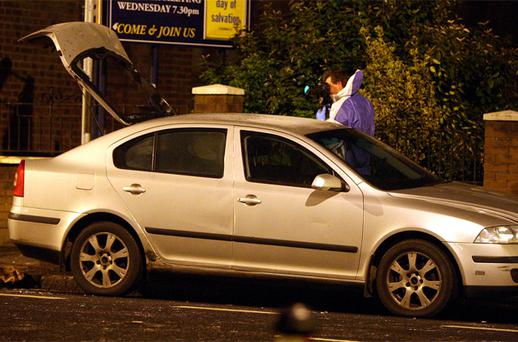 A police car that was hit by a petrol bomb as a new outbreak of sporadic trouble occurred in parts of east and south Belfast on Monday night. Photo: PA