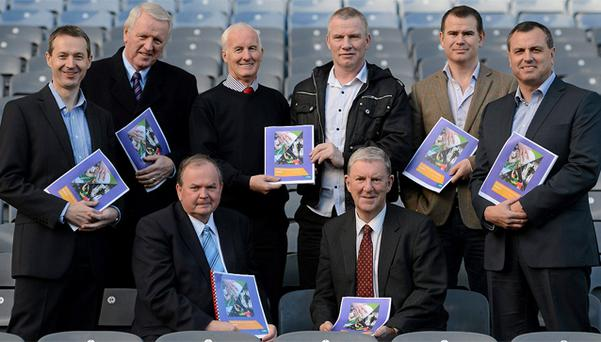 GAA president Liam O'Neill (seated left) alongside Football Review Committee chairman Eugene McGee. Back row (l-r) secretary Kevin Griffin, Tim Healy, John Tobin, Tony Scullion, Killian Burns and Paul Earley at the official launch of the first report of the FRC