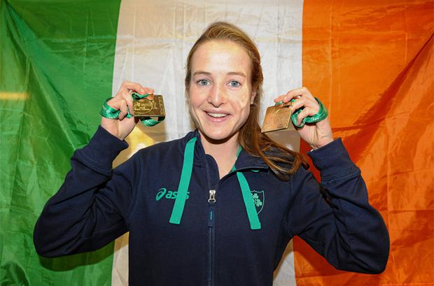 Team Ireland's Fionnuala Britton who won two gold medals, one in the Senior Women's race and the other as a member of the overall winning team at the SPAR European Cross Country Championships in Budapest. Photo: Sportsfile