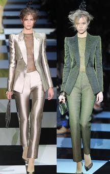 Trouser suits featured strongly at the Armani Prive Haute Couture 2012 show.