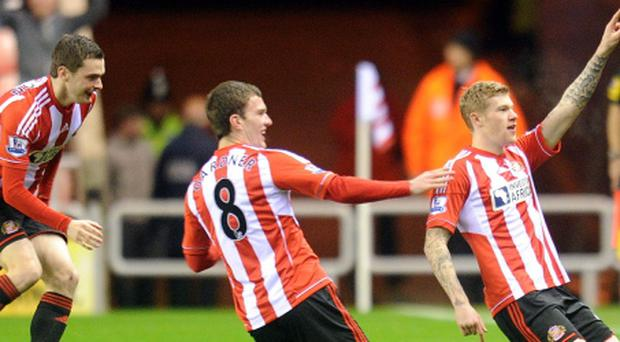 Sunderland's James McClean celebrates his goal during the Barclays Premier League match at the Stadium of Light, Sunderland. PRESS ASSOCIATION Photo. Picture date: Tuesday December 11, 2012. See PA story SOCCER Sunderland. Photo credit should read: Owen Humphreys/PA Wire.